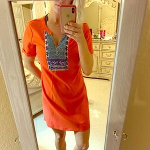 Coral mid length dress